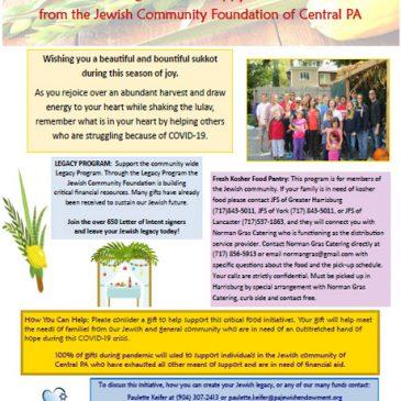 Happy Sukkot from the Jewish Community Foundation Chag Semeach